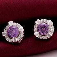 VSE684-B Fashion Jewelry Amethyst Earring 925 Sterling Silver Plated Stud Earrings for women 2014