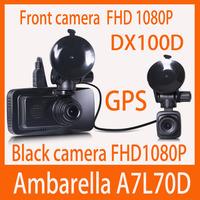 2014 new  original DX100D ambarella A7 cpu car video recorder  GPS + Night vision + LDWS + dual camera  FHD1080P@30fps dash cam