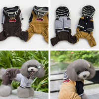 (Brown&Yellow)Top Quality Corduroy Dog Tracksuit Cute Bear Style Jumpsuit For Pet Warm Dog Garment(Small&Medium&Large)Supply