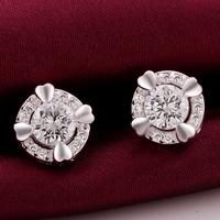 VSE684-A Fashion Jewelry Bijoux Earring 925 Sterling Silver Plated Stud Earrings for women 2014 wholesale