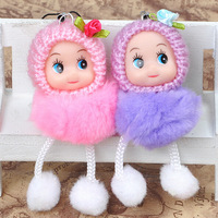 free shipping Factory wholesale 8CM hair ball clown doll mobile phone pendant Doll Plush Doll wedding gifts