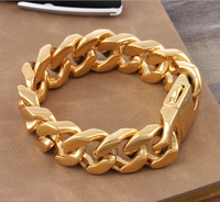 """8.66"""" 20mm Fashion Yellow Gold Stainless Steel Bracelet Mens Curb Cuban Chains 2014,PUNK, ROCK, Biker, Wholesale&Free shipping"""