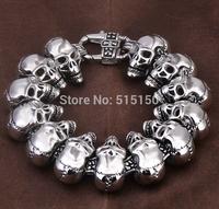 "2014 PUNK ROCK Biker 8.66"" 24.3mm Heavy Skull Link Stainless Steel Bracelet Mens Chains  Wholesale&Free shipping"