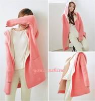 1pc New Fashion Casual Streetwear Women's Loose Plus Open Front Cardigan Jacket Coat Windbreaker Outwear Jumper Pockets Hoodie