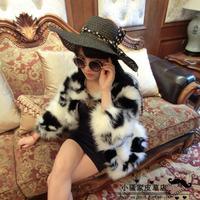 2014 new winter women's  fur coat hole imitation mink cashmere long coat head pattern