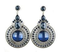 Hot Sale Vintage Beads Brincos Grandes Bohemian Women Dangle Blue Earrings. Wholesale Indian Jewelry Female Earrings