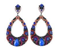 New Handmade Colorful Resin Rhinestone Beaded Bohemian Big Water Drop Shaped Women Fashion Dangle Earrings. Luxury Jewelry
