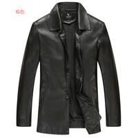 The 2014 men sheepskin casual leather jacket lapel
