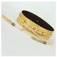 leather metal plate wide elastic women  belt women girdle golden tassel belt wide elastic women  cummerbunds