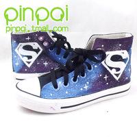 Super man hand-painted shoes graffiti shoes canvas shoes HARAJUKU luminous shoes Hand-painted shoes