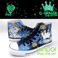 Hand-painted shoes bi for gba ng graffiti shoes HARAJUKU colored drawing luminous canvas shoes
