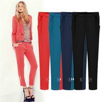 2pcs\lot  Slim colored pencil pants feet trousers casual women cotton pants cargo pants