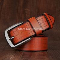 2014 Designer belt new plaid cow genuine leather men belts for men,strap male metal pin buckle,hip jeans belt drop shipping
