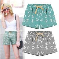 2pcs/lot   personality anchor printing casual cotton shorts pants loose hight waist WOMEN shorts