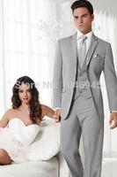 S25 2014 hot sale gray business Suit for men two button notch lapel wedding Groom Bridegroom Man Tuxedo (jacket+vest+pants+tie)