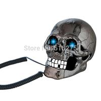 Fearful Skull Shape Novelty Corded Telephone Flashing Phone (Silver-black)