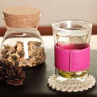 New Color Optional Fashionable Home Kitchen PU Leather Glass Coffee Milk Cup Pu Drinking Mug