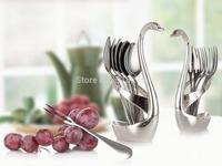 304 Stainless Steel Fork Spoon Swan Fruit Food Fork Spoon Knife Base Holder Creative Gift Tableware Set