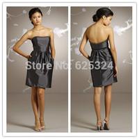 2014 Empire Vestido Rushed Wedding Dress Fashion Prom Dresses Sale -fashion Newest Bridesmaid Rhinestone Neckline A Line Knee Le