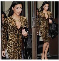 Hot Sell brand long sleeve women v-neck dress Metal buckle stretch Leopard knee-length dress S - XXL