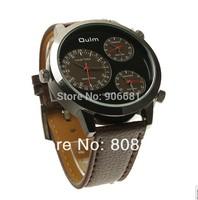 2014 New Fashion leather strap Watch Wristwatches Men Luxury Brand OULM Clock Male Quartz Watch Men's Watches dz