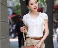 Free shipping flounced chiffon round neck wear short-sleeved shirt blouse