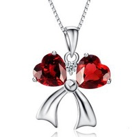 Luxurious Amethyst Pendant,Double Hearts Style,Hot Selling Necklace,925 Sterling Silver on Platinum Plated