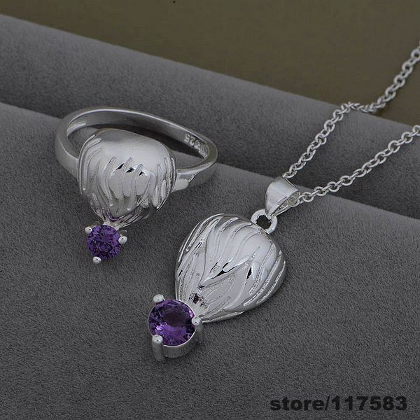 AS531 925 sterling silver Jewelry Sets Ring 599 + Necklace 926 /fffanwma dydampka(China (Mainland))