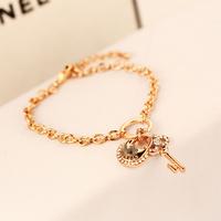 YTSL47 Fashion Designer Luxury Crystal Lock Pendant Women Bracelet Bangles 18K Real Rose Gold Plated Unique Bracelet Chain