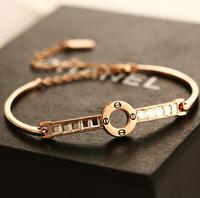 YTSL49 Designer Fashion Delicate Women Crystal Bracelets Bangles18K Real Gold Plated Nail Screws Gem Hand Chain Cuff Jewelry