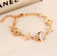 YTSL50 Fashion Charm Women Crystal Bracelets Bangles Jewelry Flower Clover Beads Hand Chain Real Gold Plated Pulseiras Femininas