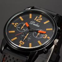Brand New Dalas Fashion Black Orange Dial Round Face Black Silicon Bracelet Analog Quartz Casual Men Dress Wristwatch / WAA756