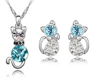 Free Shipping Retail Romantic Engagement Gold Plated Cute Cat Jewelry Sets Necklace Earrings with Austrian Crystal