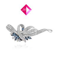 ROXI Free Shipping Christmas Gift Fashion Rose Gold Blue Diamond Brooch