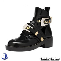 2014 Brand Hot Buckle Cutout Flat 100% Genuine Leather Women Motorcycle Boots Ankle Boots Shoes Riding Gladiator Booties A244