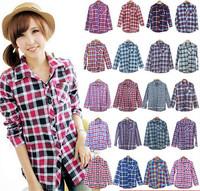 2014 Spring Autumn Women's Casual blouses Chemisier Plaid Blouse Lapel Shirts Long Sleeves Cotton Lady Girl's shirt 155-1