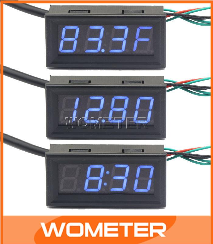 100 PCS/LOT Multi-Function Digital Fahrenheit thermometer Car Clock/Voltmeter 3in1 Blue LED Display Panel Meter #201056(China (Mainland))