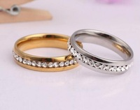 Engagement gift Packing Gold & Silver color couple ring Titanium steel ring stone couple rings matching promise rings