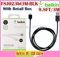 3M/9.8FT White F8j023bt3M  Data Sync Charger USB 2.0 Cable For iPhone 5 /5c ipad mini 100pcs/lot