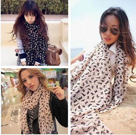 10pcs/bag Random Color 2014 Girl Women Scarves Pashmina Scrawl Infinity Scarf Cat Chiffon Shawls Wrap Free Shipping(China (Mainland))