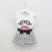 New 2014 Children Clothing Sets Fashion Girls Clothing Sets Moustache Shirt And Plaid Shorts Set Kids Summer Clothes