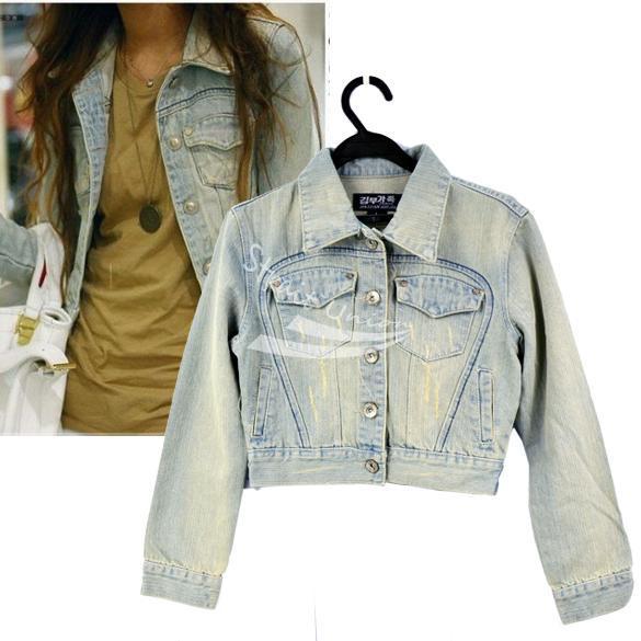 New Korea Fashion Korea Women's Ladies casual Light Blue lovely jean denim jacket Coat /M/L Free shipping(China (Mainland))