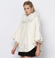 2014 Women Genium Wool Coat Fur Collar Dolman Sleeves Cape Ruffles Loose Woolen Overcoat Winter Jacket Casual casacos femininos