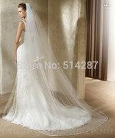 2014 New Fashion 3 Meters Long Ribbon Edge Wedding Veils Bridal Vel  Wedding Long veils With Combs Veu De Noiva