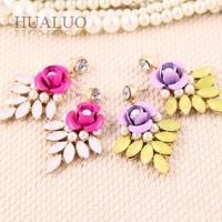 2014 Christmas Brand New Design Cheap Elegant Multicolor Rose Flower Pearl Drop Earrings For Women  #E1279 E1280