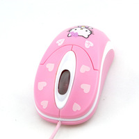Hello Kitty Mouse ,PC Laptop USD ,optical  pink optical  wired USB pink color