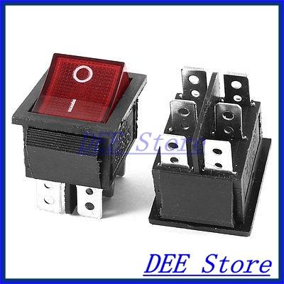 2 x AC 250V/15A 125V/20A Single Pole Double Throw I/O Rocker Switch(China (Mainland))