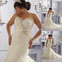 Sweetheart Neckline Corset Back Plus Size Mermaid Beaded Appliques Light Gold Wedding Dress For Large Women Bride Dresses