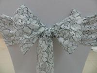 Silver lace chair sash