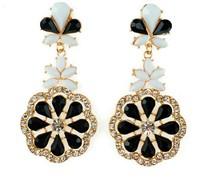 Multi Color Gold Plated Resin Beads Flower Shaped Rhinestone Bohemian Women Long Dangle Fashion Earrings Jewelry Accessories